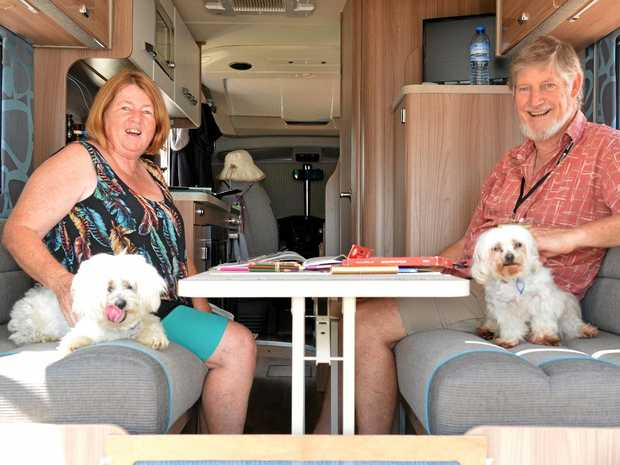 RELAXING AFTERNOON: Ruth and Rys Jones with Bedlam and Kaos at the CMCA Rally in Bundaberg.