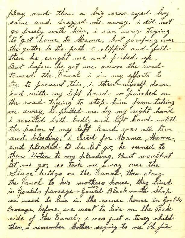 A page of the letter where Mary Harwood details being kidnapped.