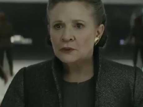 Carrie Fisher in a scene from Star Wars: The Last Jedi.