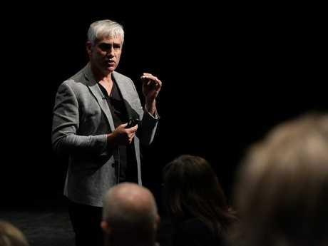Real Estate guru Tom Panos speaks at yesterdays Real Estate Seminar at the Empire Theatre.