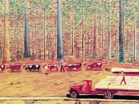 Gympie artist Lindsay Harriss painting, Logging the Forest.Attribution: With kind permission Harris family