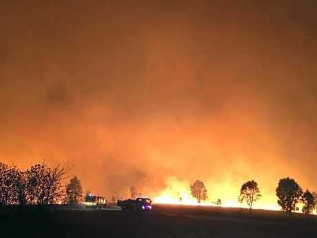 Scenes from the most recent major bushfire near Esk, captured by members of the Wivenhoe Pocket Rural Fire Brigade. Firefighters battling the blaze drew heavily on regional volunteers to bring it under control.