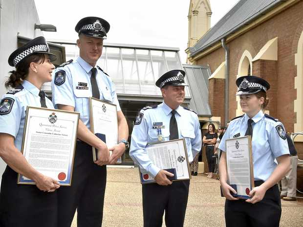 BRAVERY: Senior Constable Catherine Nielsen, Senior Constable Scott Hill, Senior Constable Stephen Barlow and Constable Brittany Poulton received the Valour Award.