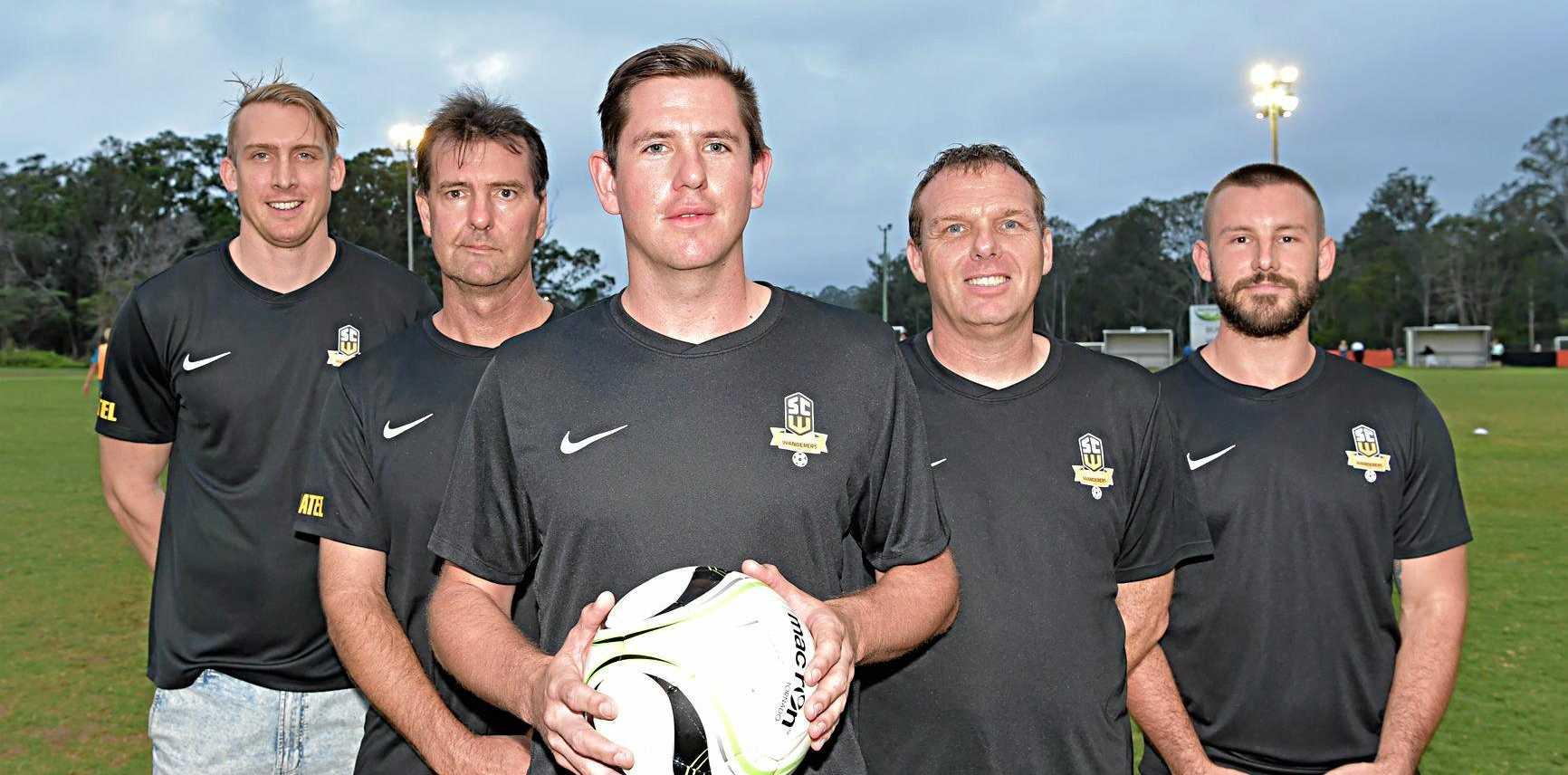 WANDERERS: Joel Coucaud, assistant coach Warren Crickmore, Ray Schultz, coach Matt Chandler and Nick Arden will be part of the team's inaugural soccer season.