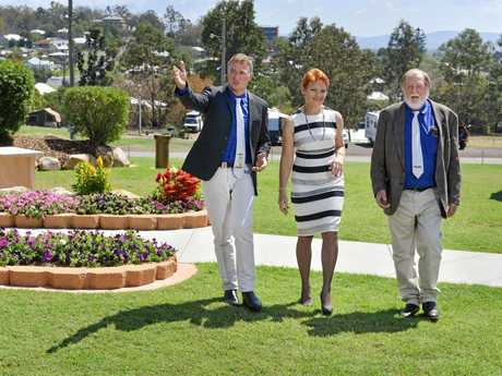 Ipswich Show Society vice-president Darren Zanow and presisent Rusty Thomas with Senator Pauline Hanson who has secured $8.9 million for the Ipswich Showgrounds.