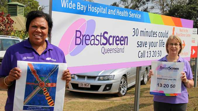 Health Worker Tamara Olive and BreastScreen Wide Bay Service Manager Di Dingle with some of the dilly bags.