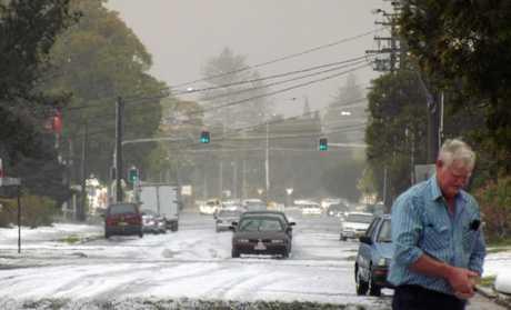 The hail in Fox Street, Ballina in 2011.