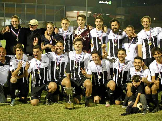 ABOVE, FROM LEFT: The 2017 pointscore, grand final and Anzac Cup champions Byron Bay FC Rams;