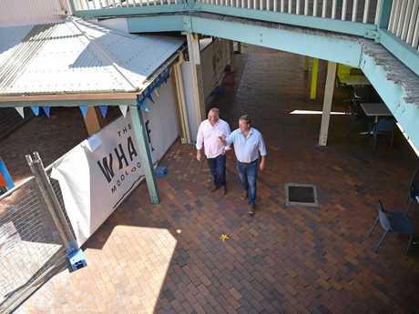Developer Dirk Long and chef Tony Kelly (left) have announced plans for new restaurants at The Wharf, Mooloolaba.