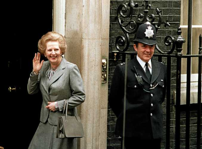 May 11, 1987 file photo, then prime minister Margaret Thatcher waves outside No 10 Downing Street.