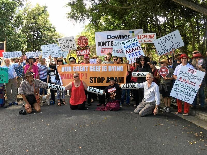 Adani protest outside Lismore City Council.