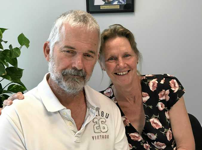 LUCKY BREAK: Peter Brady, 58, and partner Vicky Thurgood, 56, want to raise awareness on the importance of defibrillators in the workplace after Peter survived - by -chance- cardiac arrest at work in May.