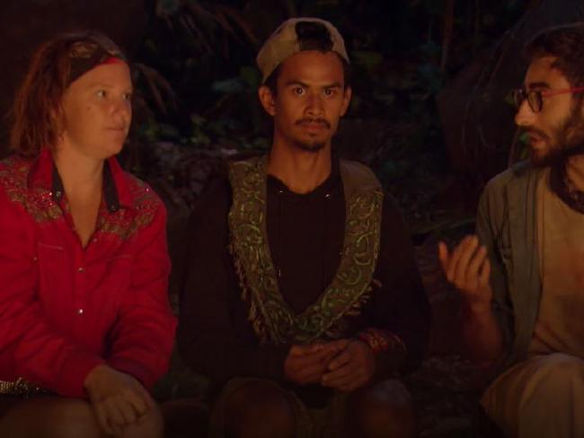 The final Tribal Council with Tara, Jericho and Peter.
