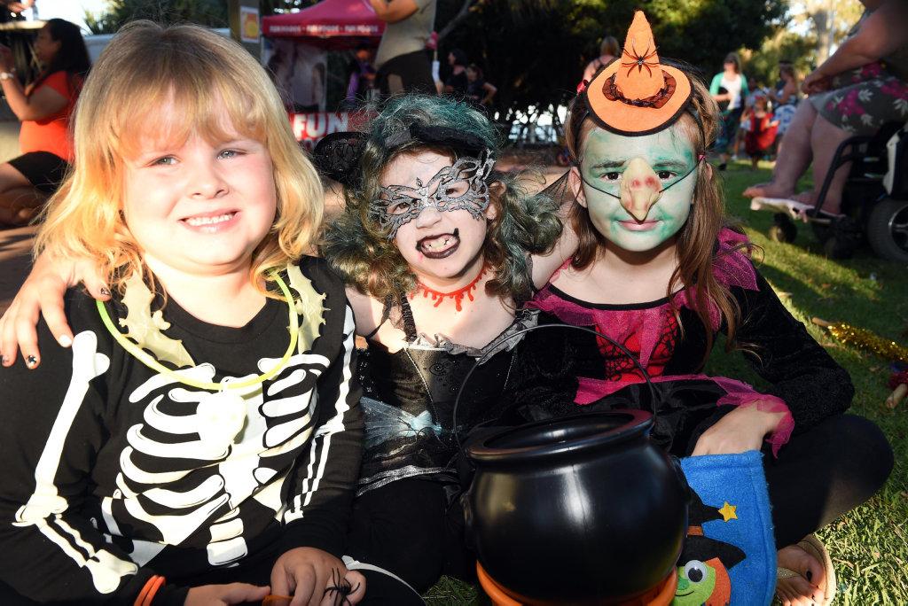 FRIGHT NIGHT: Rosie Stefaniek, Kaylee Lipczynski and Billie Theuerkauf got into the spirit of the Fraser Coast Arts Link Halloween party last year.
