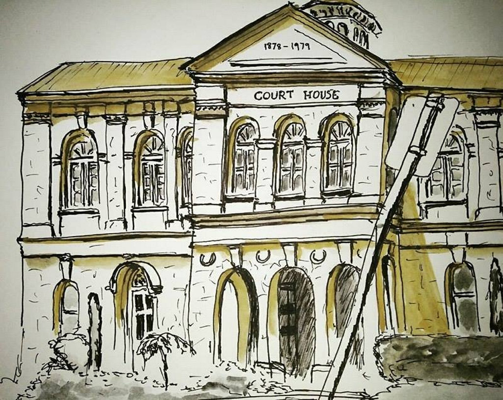 Urban sketch artist Damien Johnson? is presenting his work in Toowoomba. Pictured is the old Toowoomba Courthouse on Margaret St.