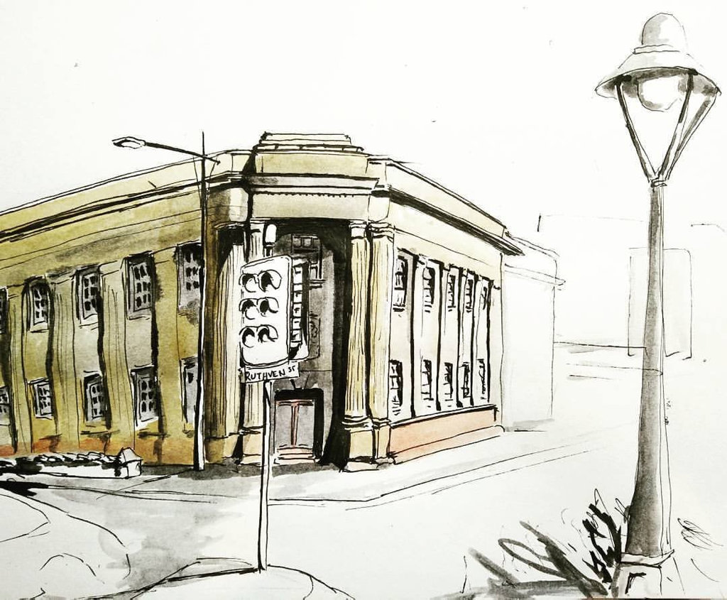 Damien Johnson is a sketch artist in Toowoomba. The Bank building in the CBD.