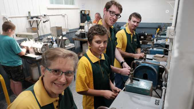 CUT AND POLISHED: Working the grinders at the Toowoomba Lapidary Club are Beverley Radke, Dante Shephard-Picton, Riki Lewis and Brendon MacLeod.