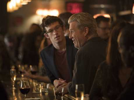 Callum Turner and Jeff Bridges in a scene from The Only Living Boy in New York.
