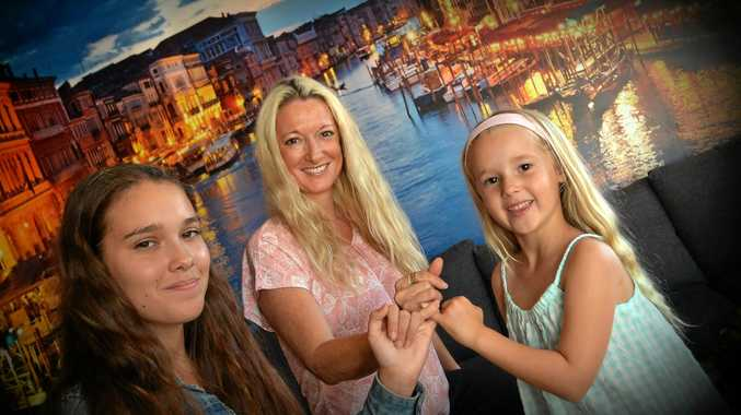 BIG DREAMS: Tam Sainsbury with her two daughters, Nicole and Jolie.