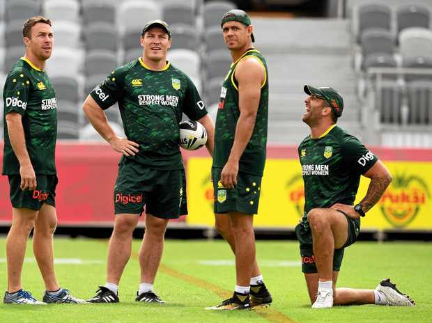 Australian Prime Minister's XII rugby league players James Maloney, Josh Jackson, Mackay's Dane Gagai and Jack Bird during a training session at the National Football Stadium in Boroko, Papua New Guinea.