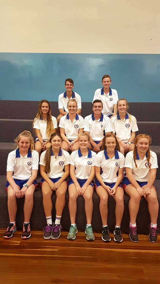 GO: Warwick State High students heading to state championships (front, from left) Larissa Vickers, Natalia Webb, Sophie Follett, Bree Ragh, Niamh Hogan, (middle) Grace Mc Laughlan, Alexis Carey, Zac Wall, Lily Maw, (back) Justyn Rogers and Cahal Davis.