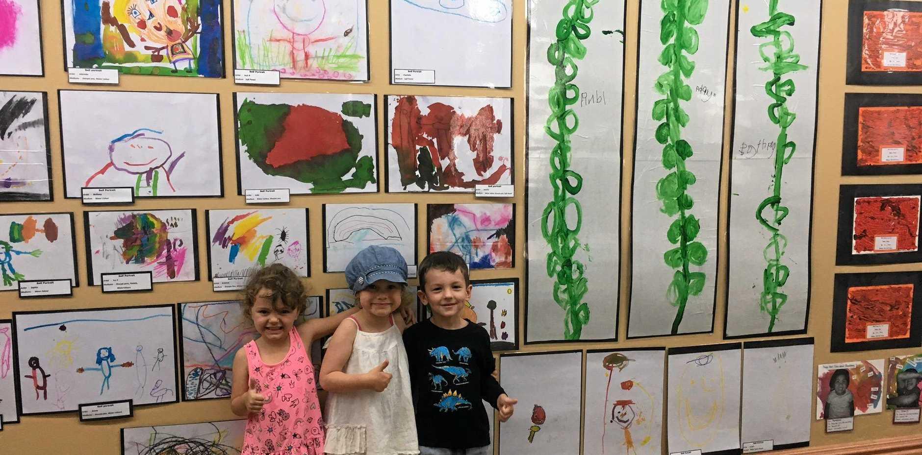 ALL SMILES: 300 kindergarten children in Bundaberg will have their art work on display at the School of Arts building.