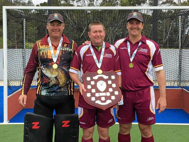 Previous national title-winning Ipswich masters hockey trio (from left) Stu Darby, Wayne Follett and Brent Kinnane have shared in Queensland's latest successes.