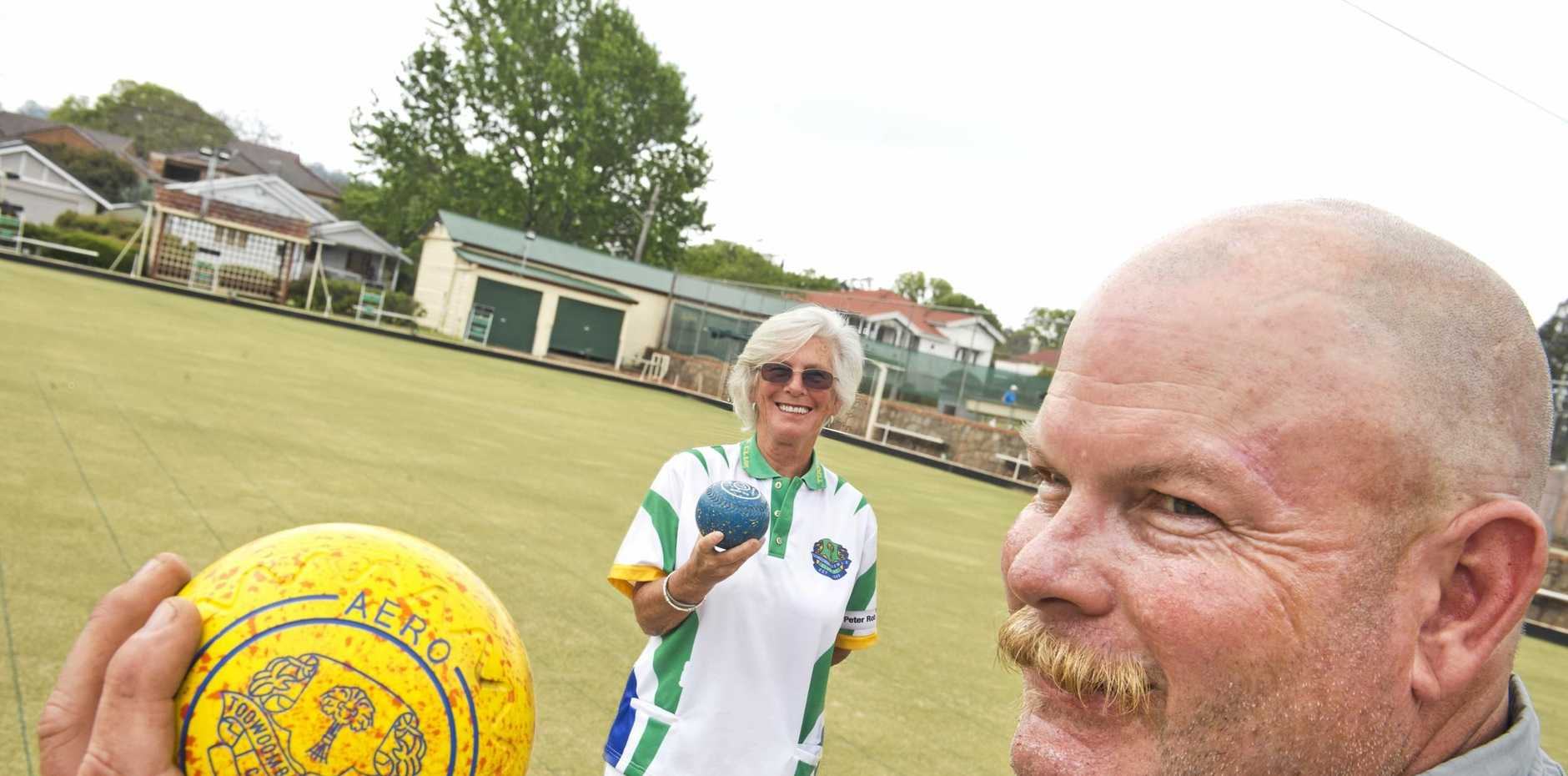 Christine Plater and Lenny Rasmussen are ready for this month's Prestige Mixed pairs Carnival at Toowoomba Bowls Club.