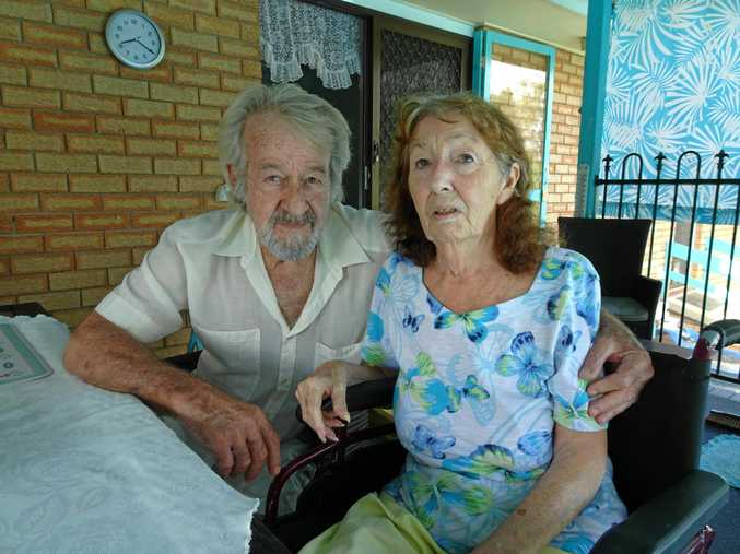 LOST FOR WORDS: Peter Bass is upset his wife Rita was discharged from Bundaberg Hospital and left in the sun unattended at the front. Rita had strokes and is nonverbal and has memory loss and can not communicate.