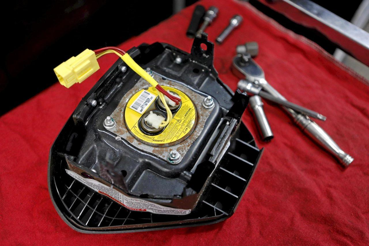 A recalled Takata airbag inflator; Takatas U.S. units have been automatically shielded from lawsuits since they filed for chapter 11 bankruptcy protection in June. PHOTO: JOE SKIPPER/REUTERS