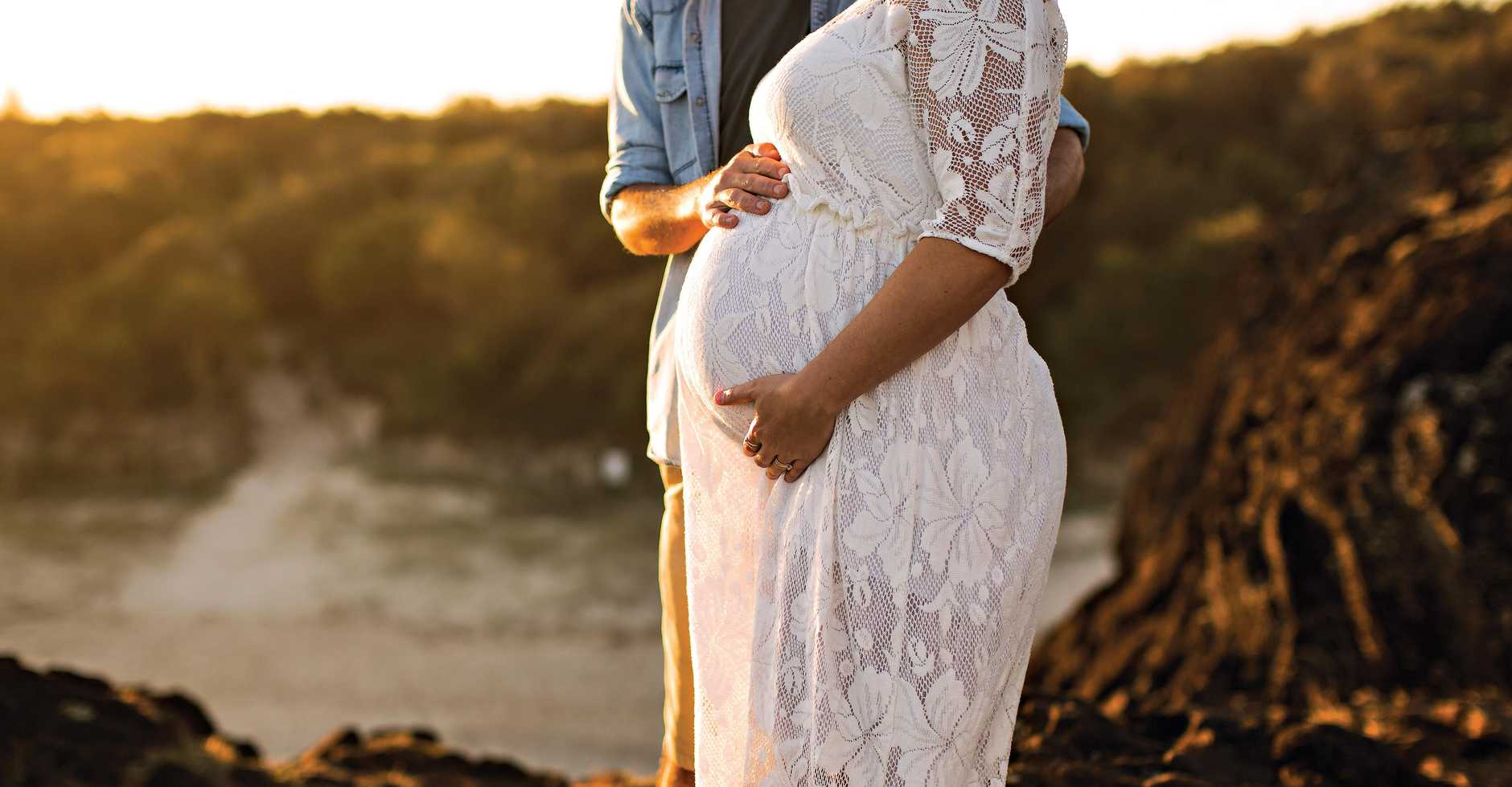 "Kiri ten Dolle reveals how a missed miscarriage turned into a long and emotional journey. Pictured pregnant with her ""rainbow"" baby born in October 2016, and husband, Matt."