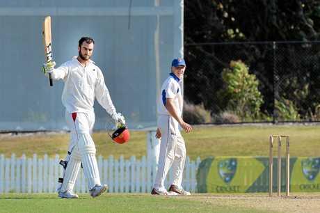 CRICKET: Sunshine Coast V Sandgate Redcliffe at John Blanck Oval, Buderim. Scorchers batesman Alecz Day makes a 100.