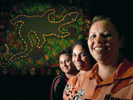 Vanessa Parker, Teearn Bruce, and director Maurita Cavanough from Jarjum Aboriginal Preschool are hopeful a new site has been found for the centre. Photo Cathy Adams / The Northern Star
