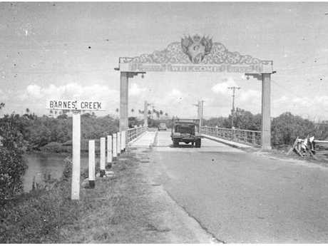 A royal archway welcoming the Queen and Duke at the Barnes Creek Bridge in 1954.