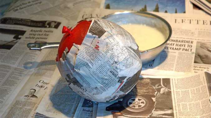 PREPARATION: Paper mache can be a fun activity to enjoy with your grandchildren. Just keep ahead of the mess.