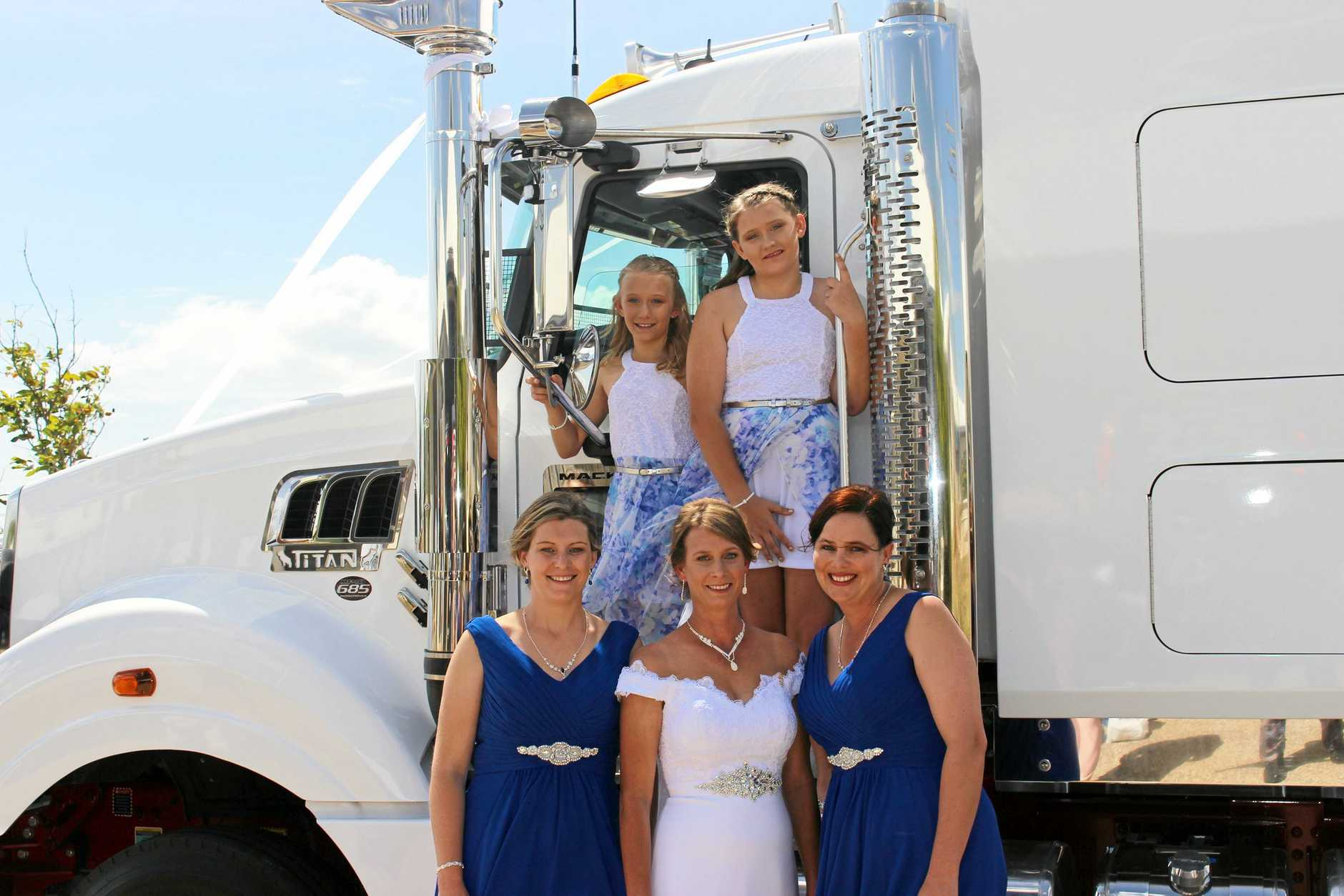 SHINING IN WHITE: The WTA wedding party made sure the vehicle and family's transport legacy shone on the day.