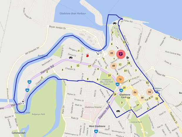 Gladstone crime map broken down by suburb.