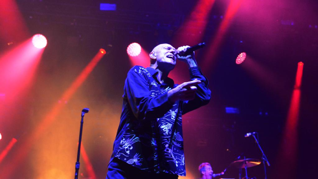 Midnight Oil perform at the Townsville Entertainment Centre. Singer Peter Garrett. Picture: Evan Morgan