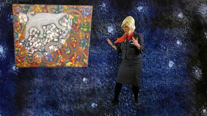 ART'S SAKE: Peggy Popart and Digby Moran's Goanna Headland painting at Lismore Regional Art Gallery portal.
