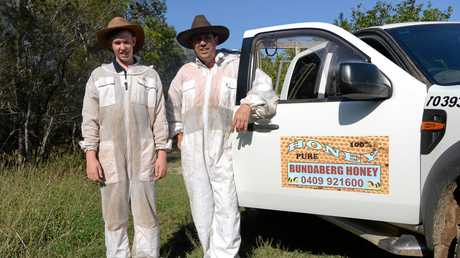 APIARIST: Ben and Darren Pratt suit-up to check bee hives on a local Macadamia farm.