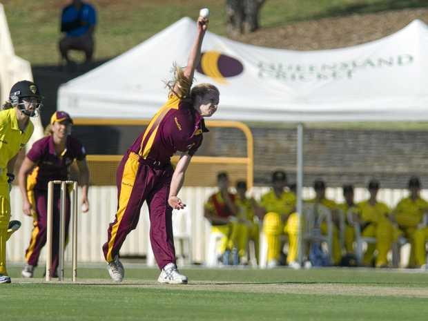 BACK IN ACTION: Holly Ferling bowls for Queensland, Queensland Fire v Western Australia.
