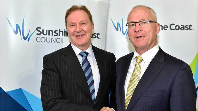 Sunshine Coast Council CEO Michael Whittaker, left, is driving the restructure. Pictured with mayor Mark Jamieson.