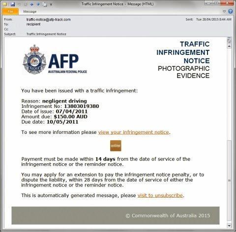 A screenshot of the AFP infringement notice scam.