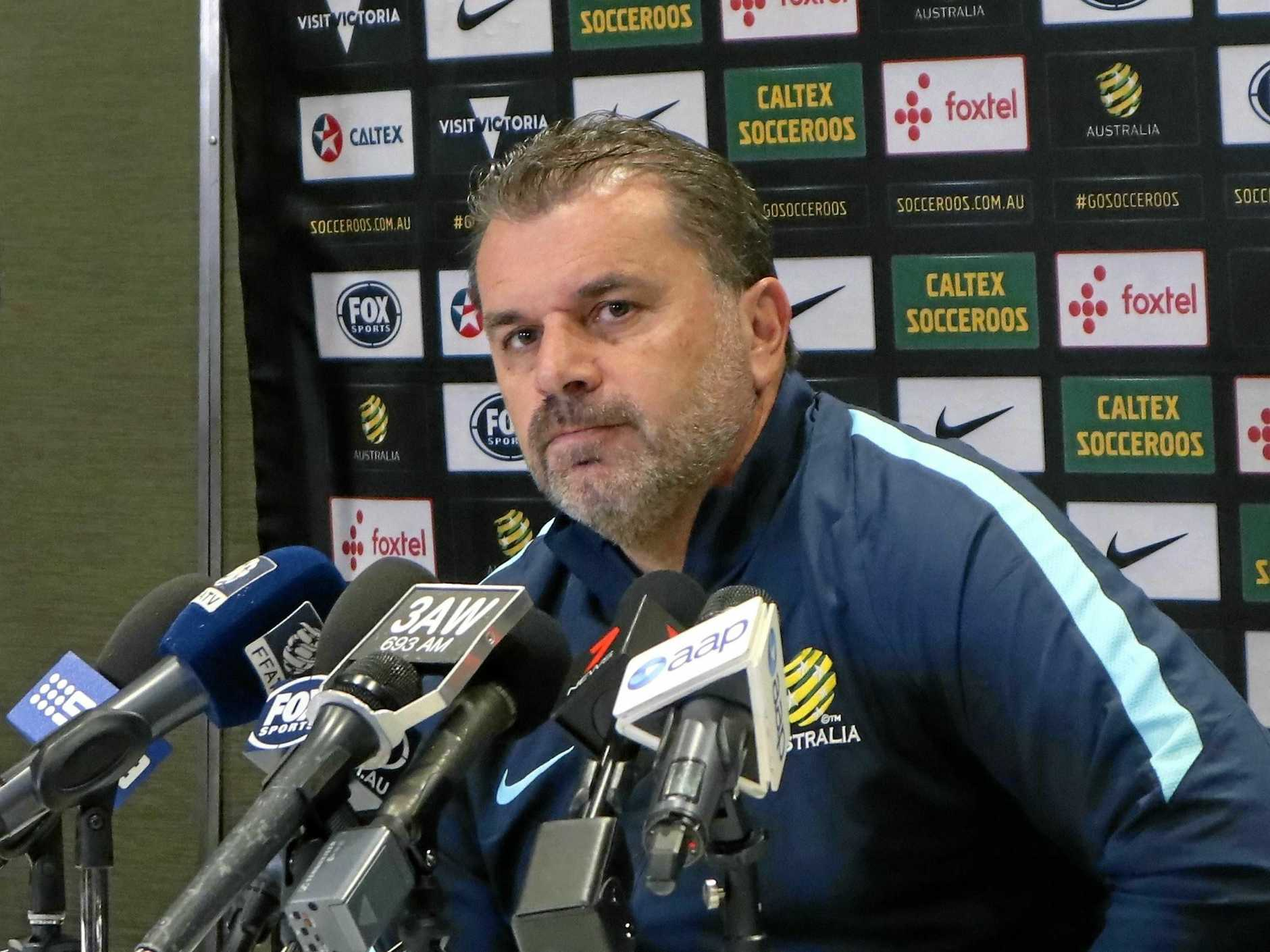 Socceroos coach Ange Postecoglou fronts the media.