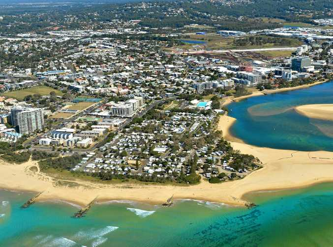 Aerial photography Sunshine Coast. Maroochy River at Cotton Tree.