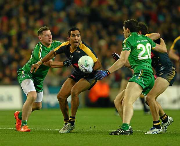 Eddie Betts (pictured in the 2015 series) is in the Australia squad again for the the International Rules Series matches.