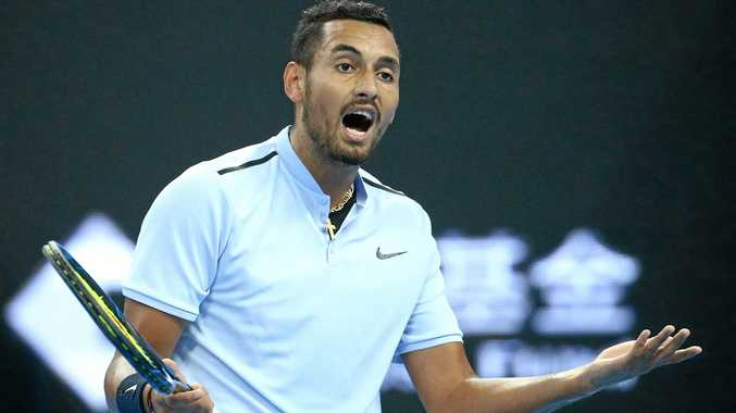 Nick Kyrgios reacts during a match.