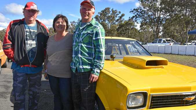 THREE RACERS: Michael Pratt, of Warwick, with Les and Lana Rice, of Stanthorpe, at the drags.