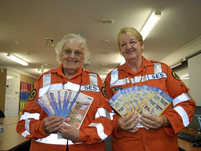 GET READY: SES members Pat Crowe and Narelle Saunders prepare to let people know how to be storm safe today.