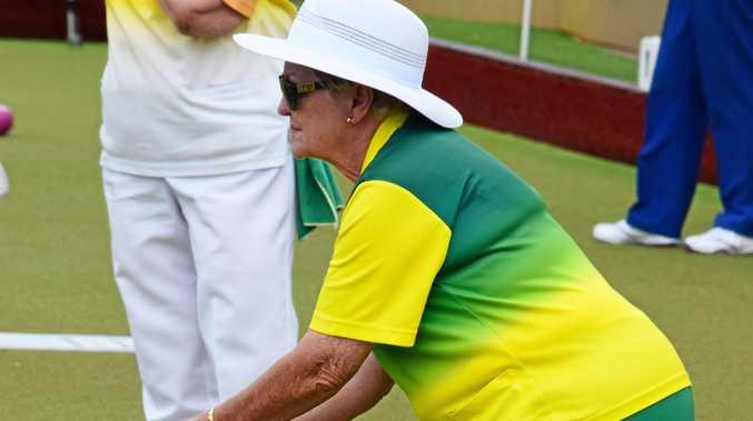 Evans Head bowler Bev Montague at the NRDBA women's fours at Ballina.